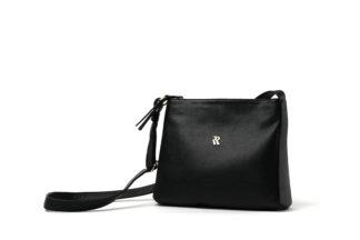 Kleine Ledertasche mit langem Riemen und Zipverschluß in schwarz.