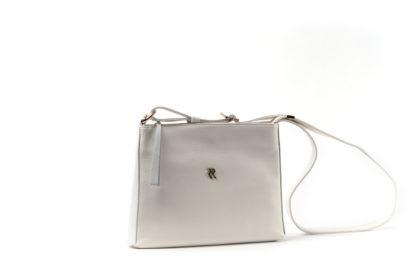 Kleine Handtasche aus Leder mit langem Riemen und Zip in weiß.