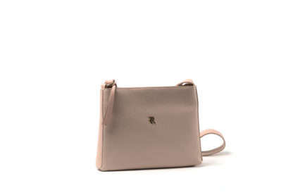 Handtasche aus Leder in nude mit langem Riemen und Zipp.