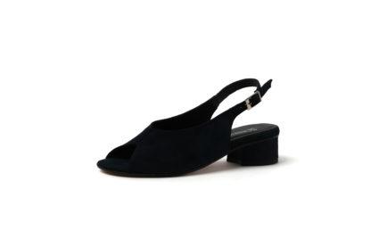 Sandale in schwarz aus Velour mit 3cm Absatz von R.F.