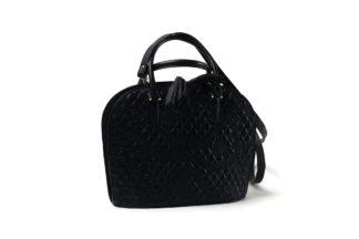 Handtasche in schwarzem Leder mit Henkel und langem Riemen.
