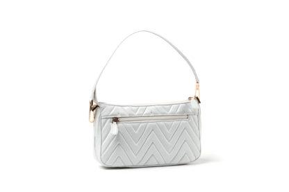 City-Handtasche in gestepptem Leder mit Außenzipp in weiß.
