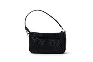 City-Handtasche in gestepptem Leder mit Außenzipp in schwarz.