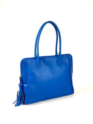 Nappaledertasche elektrikblau mit Lederfutter 38 x33 cm aus eigener Manufaktur.