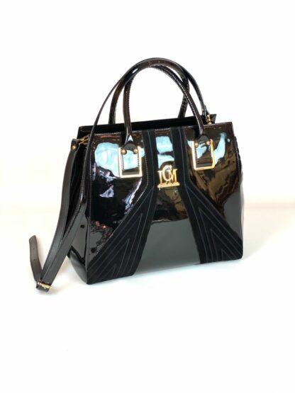 Lackleder Tasche mit Velour von Valentino Orlandi 30x27 cm.