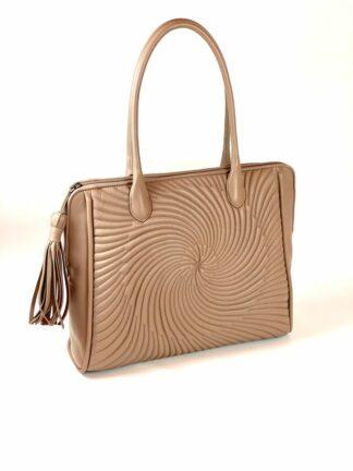 Nappaledertasche nude mit Lederfutter 38 x33 cm aus eigener Manufaktur.