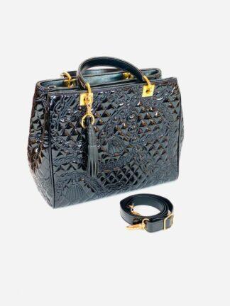 Kurzhenkeltasche Lackstepp in schwarz, 27x22 cm.