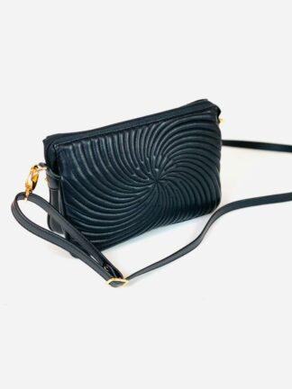 Kleine Tasche zum Schrägtragen in Nappastepp schwarz,22x15 cm.