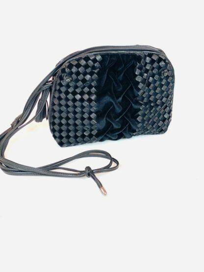 Abendtasche in Samt Nappa schwarz, 25x19 cm.