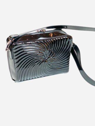 Abendtasche in Lackleder schwarz, 25x19 cm.