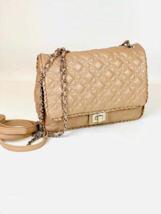 Tasche in nude Stepp wahlweise mit Kette oder Lederriemen zum Qwertragen, 26x20 cm
