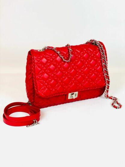 Tasche in rot Stepp wahlweise mit Kette oder Lederriemen zum Qwertragen, 26x20 cm