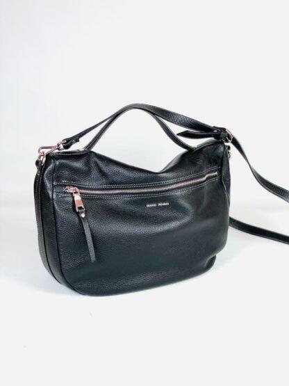 Tasche zum Schrägtragen aus genarbten Leder in schwarz mit 2 Zippfächern von Gianni Notaro.