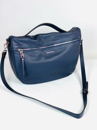 Tasche zum Schrägtragen aus genarbten Leder in blau mit 2 Zippfächern von Gianni Notaro.