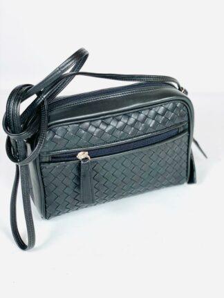 Tasche zum Schrägtragen mit 2 Innenzippfächern, Lederfutter und Aussenzipptasche, 21x15 cm.