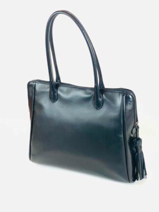 Shopper Nappa schwarz Innenfach mit Zipp 7 x 32 cm