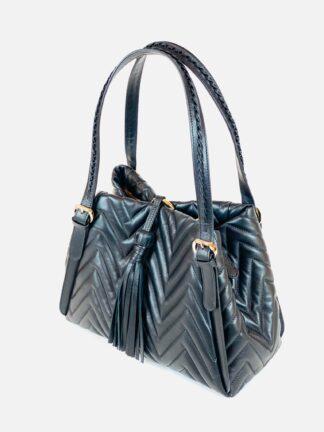 Shopper aus Nappaleder in schwarz 30 x 23 cm.